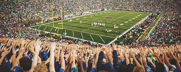 Student section in Notre Dame Stadium