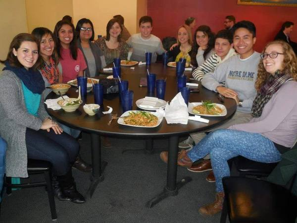 Students share a meal at Cambodian Thai