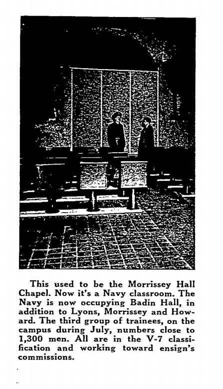 The Navy used the chapel as a classroom
